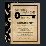 "Housewarming Party | New Home Sweet Home Invitation<br><div class=""desc"">A stylish moving announcement and housewarming party invitation with vintage charm features a &quot;new home sweet home&quot; title with an antique key with heart accent, scroll flourish, custom invite text, a striped border, and graphic pattern of keys, hearts, and keyholes on the back side. Black text on a background with...</div>"
