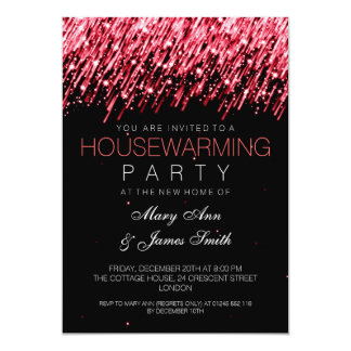 Housewarming Party Red Falling Stars 5x7 Paper Invitation Card