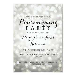 Housewarming Party Silver Glitter Lights 5x7 Paper Invitation Card