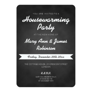 Housewarming Party Simple Chalkboard Black Personalized Invite