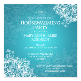 Housewarming Party Vintage Scroll Turquoise Custom Invite