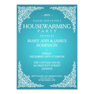 Housewarming Party Vintage Swirls Turquoise Card