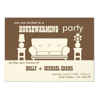 Housewarming Party - White Living Room 5x7 Paper Invitation Card