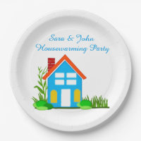Housewarming Party with Monogram Paper Plates 9""