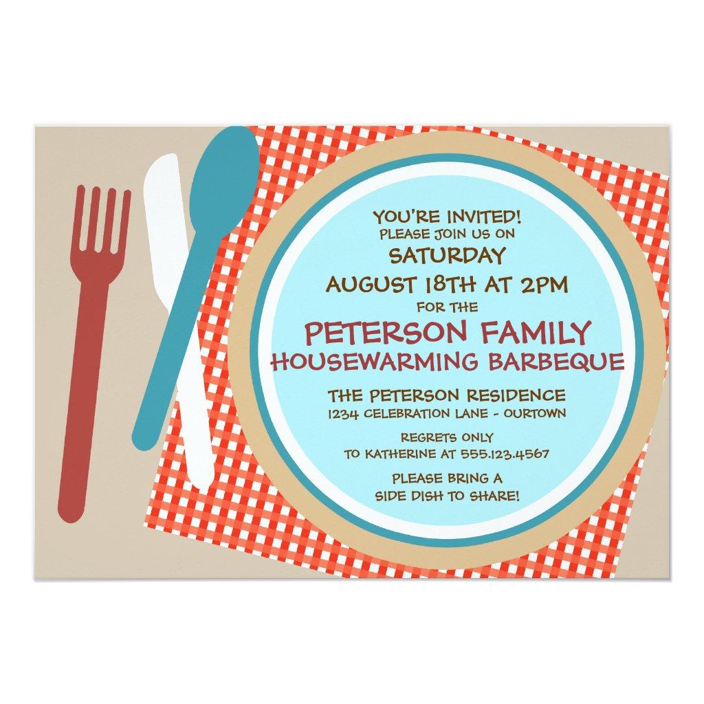 Housewarming Picnic Barbeque Invitation