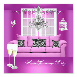 HouseWarming Pink Champagne Chandelier Sofa 5.25x5.25 Square Paper Invitation Card