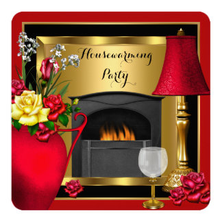 Housewarming Red Gold Roses Decor Wine Glass Invites