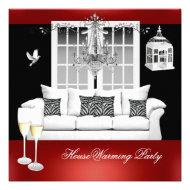 HouseWarming Red White Black Chandelier Custom Invitations