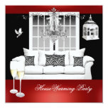 HouseWarming Red White Black Chandelier 5.25x5.25 Square Paper Invitation Card