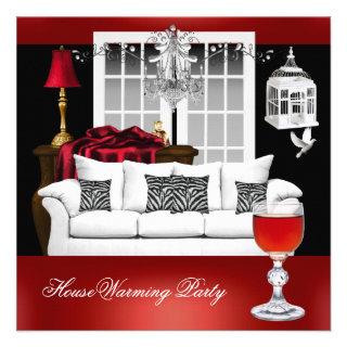 HouseWarming Red White Black Chandelier Custom Invitation