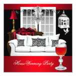 HouseWarming Red White Black Chandelier RED 5.25x5.25 Square Paper Invitation Card