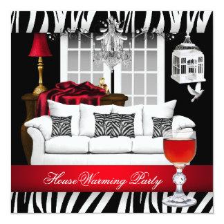 "HouseWarming Red White Black Chandelier Zebra 5.25"" Square Invitation Card"
