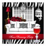 HouseWarming Red White Black Chandelier Zebra 5.25x5.25 Square Paper Invitation Card