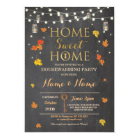 Housewarming Sweet Home Fall Chalk Leaves Invite