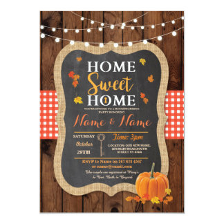 Housewarming Sweet Home Fall Wood Pumpkin Invite