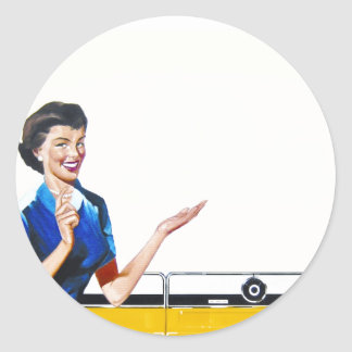Housewife and New Washer Classic Round Sticker