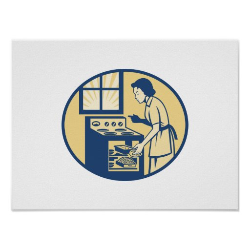 Housewife Baker Baking in Oven Stove Retro Print