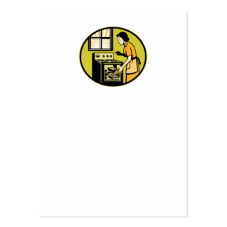 Housewife Baking Bread Pastry Dish Oven Retro Business Card