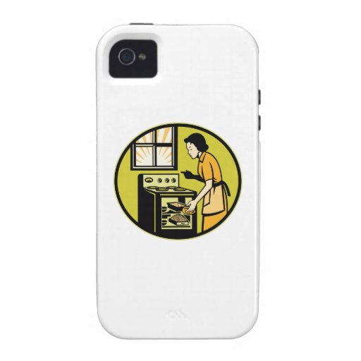 Housewife Baking Bread Pastry Dish Oven Retro Vibe iPhone 4 Cover