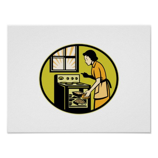 Housewife Baking Bread Pastry Dish Oven Retro Print