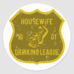 Housewife Drinking League Round Stickers