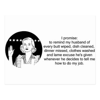 Housewife Promise Post Card