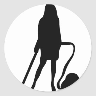 housewife - vacuum cleaner - cleaning classic round sticker