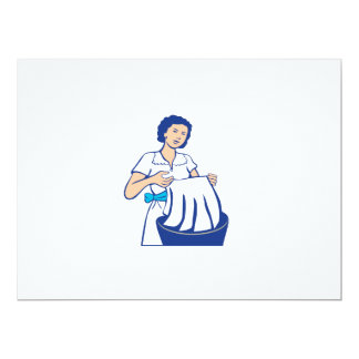 Housewife Washing Laundry Retro Card