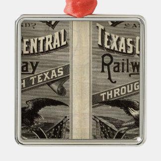 Houston and Texas Central Railway through Texas 2 Square Metal Christmas Ornament