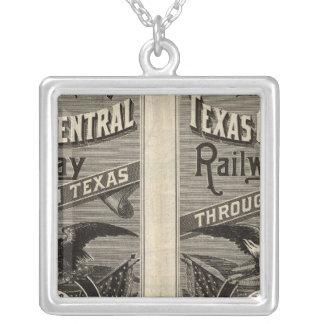 Houston and Texas Central Railway through Texas 2 Square Pendant Necklace
