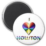 Houston -- Azul y oro de Brown Imán Para Frigorifico