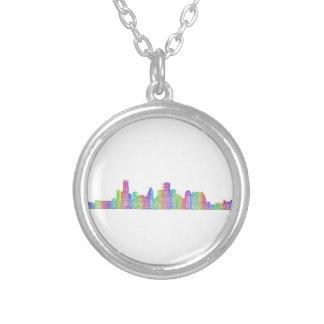 Houston city skyline silver plated necklace