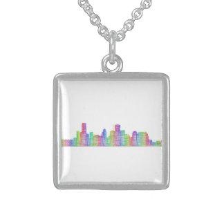 Houston city skyline sterling silver necklace