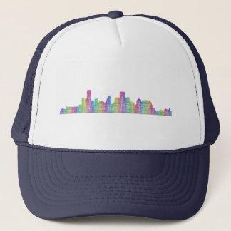 Houston city skyline trucker hat