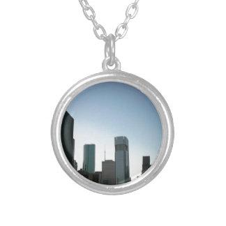 Houston Downtown Skyline 2 Round Pendant Necklace