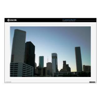 """Houston Downtown Skyline 2 Skins For 17"""" Laptops"""