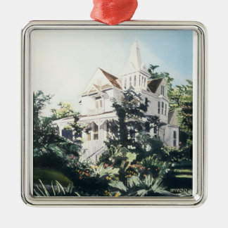 Houston Heights Watercolor, 1896 Harvard Street 2 Square Metal Christmas Ornament