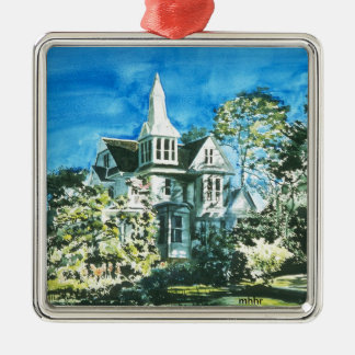 Houston Heights Watercolor, 1896 Harvard Street Square Metal Christmas Ornament