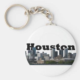 Houston, horizonte de TX con Houston en el cielo Llavero Redondo Tipo Pin