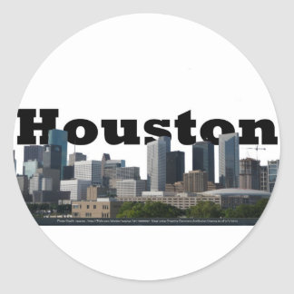 Houston, horizonte de TX con Houston en el cielo Pegatina Redonda