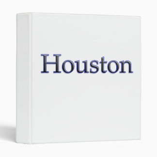 Houston in Grey and Blue - On White 3 Ring Binder