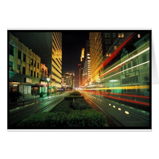 Houston Main Street at Night Card
