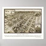 Houston, mapa panorámico de TX - 1912 Póster
