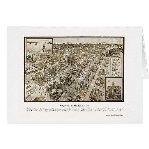 Houston, mapa panorámico de TX - 1912 Tarjeta De Felicitación