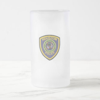 HOUSTON POLICE FROSTED GLASS BEER MUG