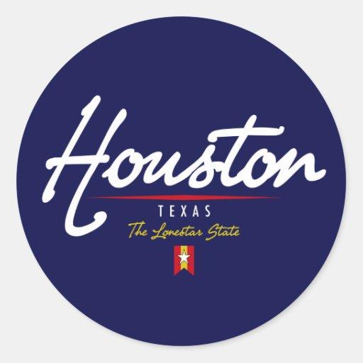 Houston Script Classic Round Sticker