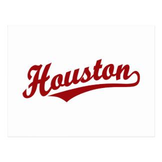 Houston script logo in red postcards
