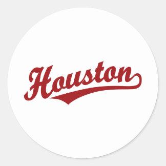 Houston script logo in red round sticker