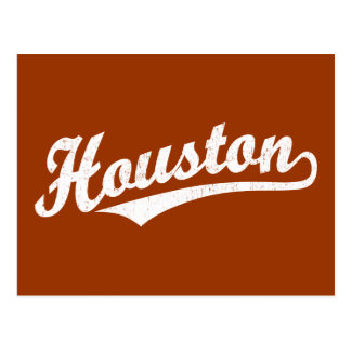Houston script logo in white distressed post cards