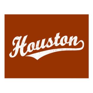 Houston script logo in white distressed postcard